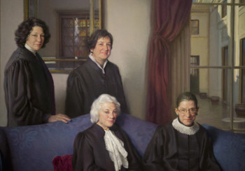 "A detail of Artist Nelson Shanks' painting, ""The Four Justices"", a 9-foot 6-inch by 7-foot 9-inch oil on canvas portrait of the first four female justices of the U.S. Supreme Court, top row, from left, Sonia Sotomayor and Elena Kagan, bottom row, from left, Sandra Day O'Connor, and Ruth Bader Ginsburg, is seen during a press preview at the Smithsonian's National Portrait Gallery in Washington, Monday, Oct. 28, 2013.  (AP Photo/Manuel Balce Ceneta)"
